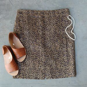J. Crew Factory Brown Leopard Print Skirt 12